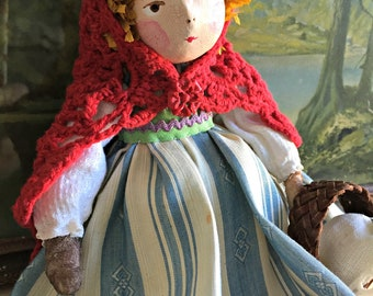 Red Riding Hood and the Wolf One of a Kind Handmade Art Doll