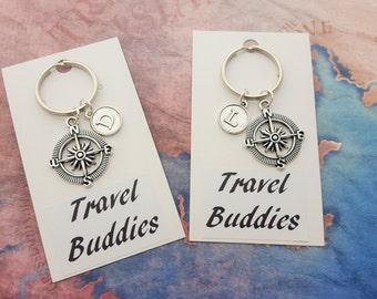 Travel Buddies Keyring, Personalised Keychain, Travelling Accessory, Travel Group Gift, Vacation Keepsake, Compass Keychain, Journey Keyring