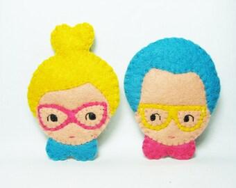 Fancy couple in love felt pins
