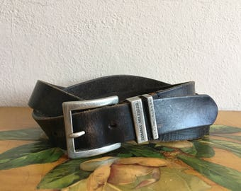 Black Leather Belt Tommy Hilfiger Vintage Distressed