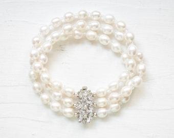 Freshwater Pearl Bridal Cuff Bracelet, Wedding Bracelet, Bridal Jewelry