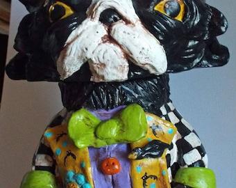Nouvelle Art populaire de chat Halloween lunatique poterie contenant Vintage nouveau OOak
