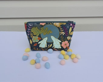 Floral Cosmetic Case, Make up Bag, Cell Phone Case, Clutch, Glasses Case, Bunnies