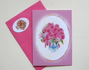 Summer rose Folding card with Pinkfarbigem envelope and sticker