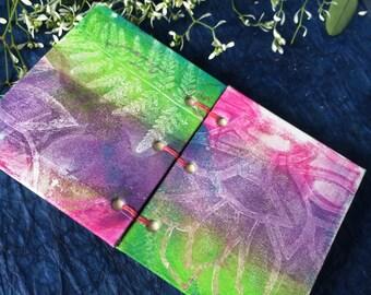 Fern leaf Journal,  small blank journal- pink, purple, green