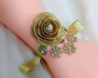 Gold flower wedding cuff, Bridal wrist cuff, Floral cuff, Rhinestone bridal cuff, Ribbon bracelet, Bridal cuff bracelet, Bridesmaid corsage