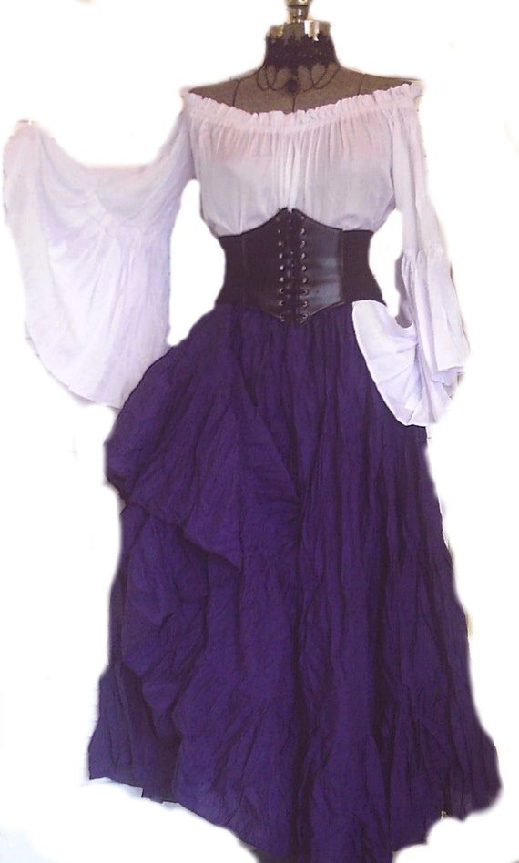 Renaissance Dress Pirate Corset Gypsy Chemise Outfit Waist
