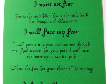 Litany Against Fear from Dune