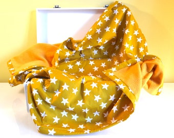 Blanket fleece and cotton mustard yellow and white - stars