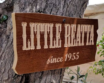 "15""x 7.5"" Tree Sign, Housewarming Gift, Realtor Gift, Address Sign, House Number, Number Plaque, carved wood sign"