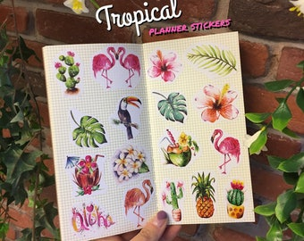 TROPICAL  Stickers (set of 17)  watercolor drawing, planner decoration, hobonichi