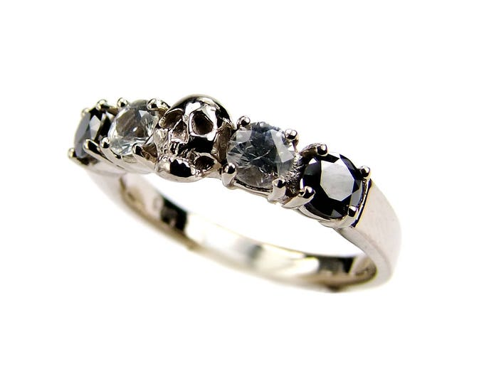 Solid White Gold Skull Ring With Black Diamonds And White Sapphire White Gold Skull Wedding Ring Goth Psychobilly Wedding Band Jewel Ring