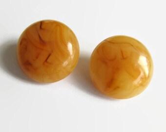 Vintage orange flamed earrings - vintage earrings - clip ons - orange clip ons - vintage clip ons - vintage jewelry - orange jewelry