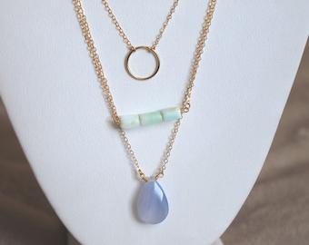 Collier de pierres précieuses Rectangle de menthe || Collier en or Gold Filled || Bijoux Bohème