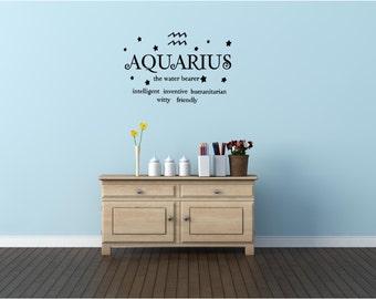 Aquarius the water bearer horoscope zodiac wall art wall sayings vinyl letters stickers decals