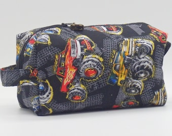 Monster Truck Bag, Zip Pouch, Ditty Bag, Toiletry Kit, Pencil Case, Toy Bag, Shave Kit, Travel Case, Gifts for Dad, Gifts for Boys