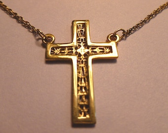 GOLD VERMEIL Cross, Cross Pendant, Genuine Gold over Sterling Silver Cross, Hanging 1960s Cross, Gold Pendant & Neck Chain, Cross Necklace