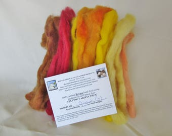 1.0 oz. Alpaca Roving - Hand Dyed - 7 Shades of Sunset - Felting Variety Pack