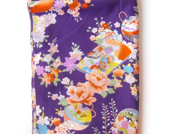 Asian Inspired Print Fabric / Kimono Fabric / Cheongsam Dress Fabric / Purple and Orange / Draping Fabric /  Asian Flowers Floral Dress