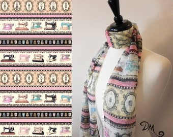 Sewing Quilting themed Scarf by Dan Morris, novelty scarves , 100% Polyester Chiffon, sewing maching scarf, vintage sewing