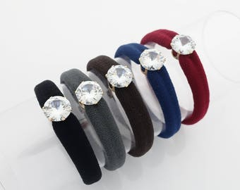 A Set of Glass Rhinestone Decorated Hair Elastic Ponytail Holders Women Hair Accessory