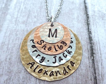 Family Monogram Custom Names Hand-stamped Necklace - Mothers Day Gift - Family Names - Mother Necklace - Personalized Wife Gift - S63