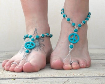 Turquoise peace barefoot sandals, natural hemp jewelry, foot jewelry, barefoot jewelry, earthing hippie shoes, toe thong, soleless, beach