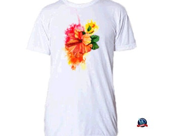 Hibiscus Splash 100% combed cotton T-shirt design derived from an original watercolor painting by Kathy Baumann