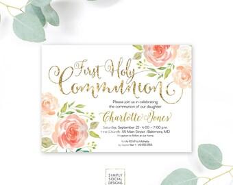 Floral Holy Communion Invitation - Floral Communion Invite Baptism Invitation Peach Peony Printable Invitation Religious Faux Gold Foil