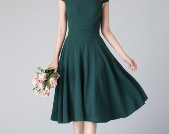 summer green dress, simple dress, cap sleeves dress, vintage dress, knee length dress, evening summer dress, linen dress woman  1904