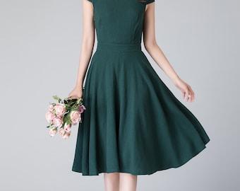 A line dress, 50s dress, green dress, linen dress, midi dress, cap sleeves dress, vintage dress, summer dress, women dress 1904