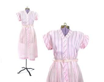 1940s Dress, 40s Dress, Pink Dress, Summer Dress, Womens Dress, Vintage Clothing, Vintage Dress, Medium Dress dress,