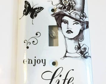 Elegant Woman in a Beautiful Hat Light Switch Cover, House Warming Gift, Enjoy Life, Elegant, Butterfly, Swarovski Crystal
