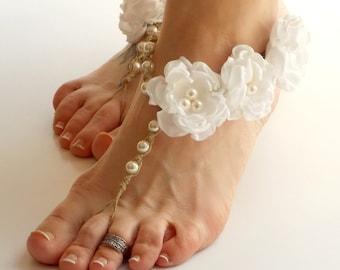White Wedding Sandals, Barefoot Sandals, Flower Sandals, Bride Shoes, Beach Wedding Shoes, Bridesmaid Sandals, Bride Sandals, Pearl Sandals