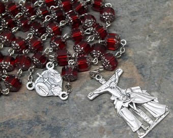 Czech Glass Rosary of Ruby Siam Cathedral Beads with Silver Tips, 5 Decade Rosary, Catholic Rosary, July Rosary, Birthstone Rosary