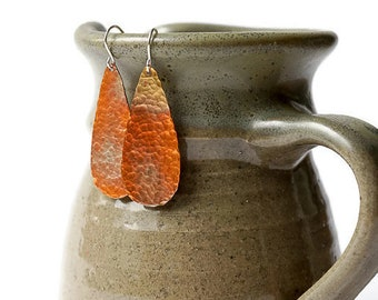 Hammered Copper Tear Drop Earrings, Long Copper Earrings, Shiny Copper Earrings, Artisan Copper, teardrop earrings