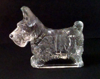 """Vintage 1930's  4"""" Clear Glass Scottie, Scotty or Scottish Terrier Dog Candy Container"""