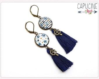 Stripes & flowers earrings - Chandelier earrings - Tassel earrings - Glass dome flowers earrings