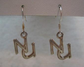 N U Sterling Silver Earrings Pierced Wire Vintage Dangle 925