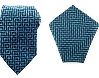 Mens Necktie Green Blue Black 8.5 CM Necktie with Pocket Square. Green Wedding Necktie. Necktie Black Pocket Square. Groomsmen Neckties.