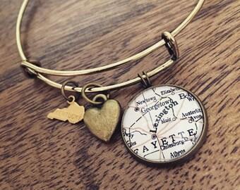 Lexington Kentucky Map Charm Bangle Bracelet - Personalized Map Jewelry - Travel - Wanderlust - State Pride - Stacked Bangle