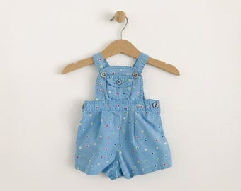 Vintage Lacoste Polka Dot Shortalls | size 3 to 6 months