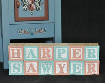 12 BLOCKS - Baby Names in Wooden Blocks, Nursery Blocks, Alphabet Blocks, Alphabet Letters, Baby Blocks, Maternity Photo or Baby Shower