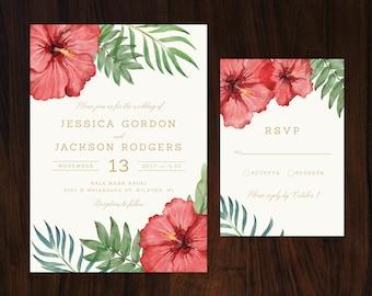 Tropical Wedding Invitation, Tropical Flowers Wedding Invitation, Hibiscus Invitation, Destination Wedding Invite