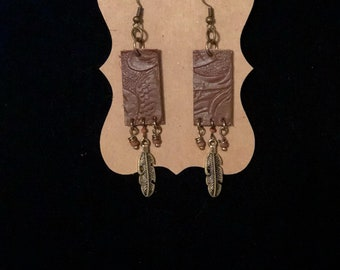 Brown Leather with Feather Earrings