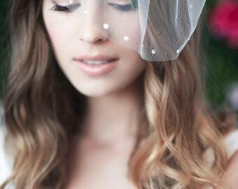 birdcage veil, bird cage veil, blusher veil, tulle bridal birdcage veil, tulle veil, small blusher veil ~ MARIE SMALL w/ Rhinestones Edge