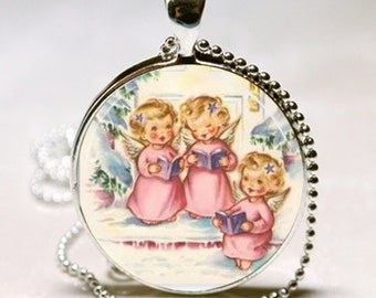 Shabby Pink Angels Caroling Kitsch Retro Vintage 1950s Christmas Card Altered Art Pendant Charm Necklace