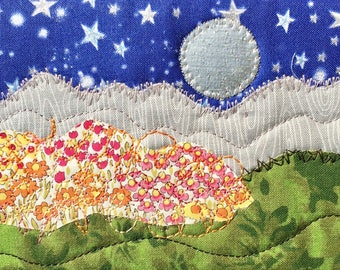 Girlfriend Gift - Moon and Stars - Quilted Fabric Postcard - Landscape Art - Mountain Postcard - Fiber Art - Mountain Decor - Romantic Night