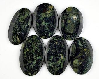 6 Pcs Kambaba Jasper palm stone Kambaba jasper alligator jasper healing stone kambaba jasper Oval Cabochon Green Stromatolite Jasper#5768