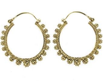Earrings dark circles flowers round brass brass antique golden tribal nickel free jewellery piercing (BO No.-16)